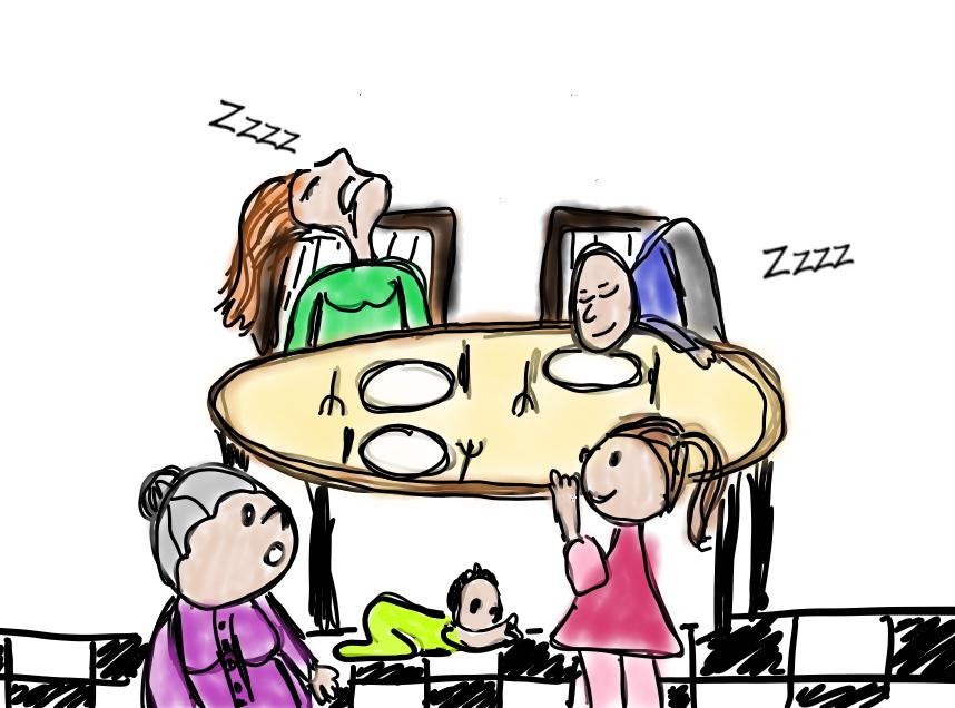 Dormir à table